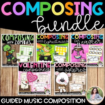 Composition Bundle: 5 Seasonal Composition Packets for Elementary Music Students