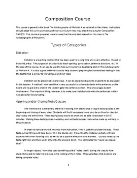Composition Curriculum for The Autobiography of Malcolm X  - Chapters 1-2