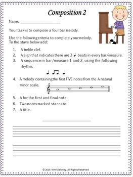 Composition: FIVE Music Composition Worksheets Set 2