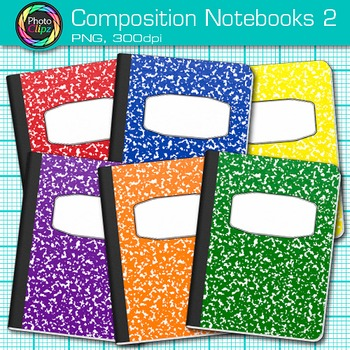 Composition Notebooks Clip Art {Back to School Supplies for Writing Prompts} 2
