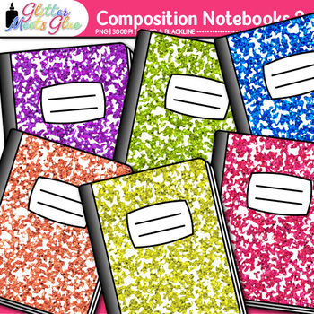 Composition Notebook Clip Art {Back to School Supplies Graphics for Journals} 2