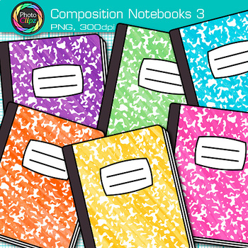 Composition Notebook Clip Art {Back to School Supplies Graphics for Journals} 3