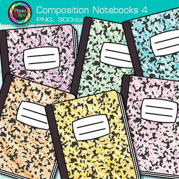 Composition Notebook Clip Art {Back to School Supplies Graphics for Journals} 4