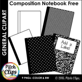Composition Notebook Clipart (Clip Art) - FREEBIE Black and White