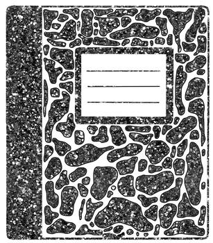 Composition Notebook Clipart * Glitter * Solids * Bundle *