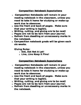 Composition Notebook Expectations
