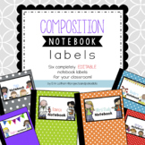 Composition Notebook Labels: Editable!