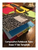 Composition Notebook Tabs Template- 5 Tabs