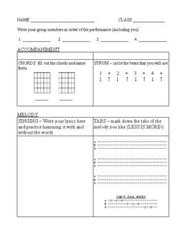 Composition Worksheet - for guitar
