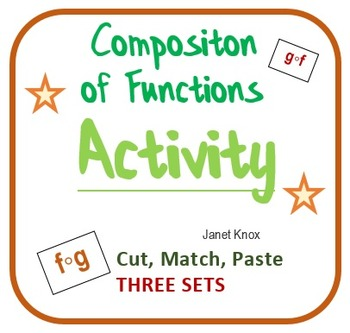 Composition of Functions:  Cut and Paste Algebra Activity, Three Levels