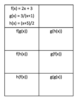 Composition of Functions Practice Cards