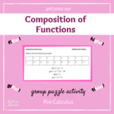 Composition of Functions Practice Group Activity with Puzzle