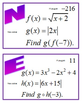 Composition of Functions Scavenger Hunt