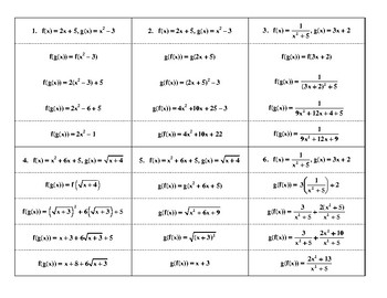 Composition of Functions Steps
