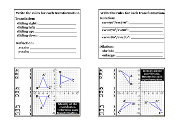 Composition of Transformations on Coordinate Plane