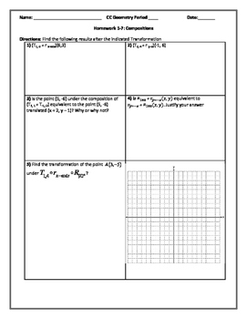 Compositions in the Coordinate Plane Editable Word Document