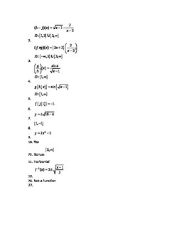 Compositions of functions, parametric equations, and inverses Quiz