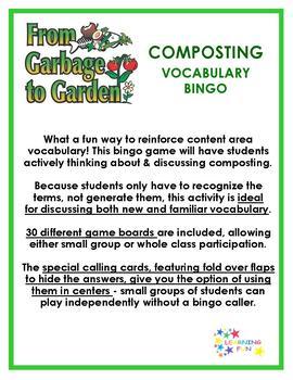 Composting Vocabulary Bingo
