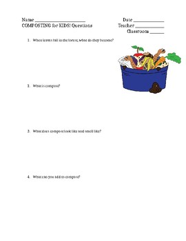 Composting for Kids Questions, EDITABLE