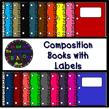 Compostion Books with Labels Clip Art - 33 Vibrant Colors!