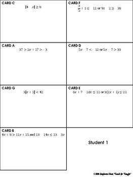 Compound & Absolute Value Inequalities Task Card Activity
