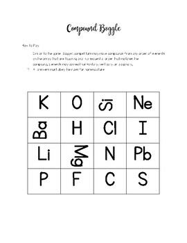 Compound Boggle - Games for Chemistry