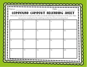Compound Campout - A Simple and Compound Sentence Scoot Game