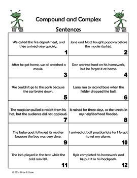 Compound Complex Sentence Center Activity