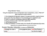 Compound-Complex Sentence Mad Libs Dependent & Independent Clause Manipulatives