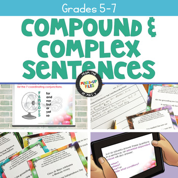 Compound and Complex Sentences Task Cards Spring Theme