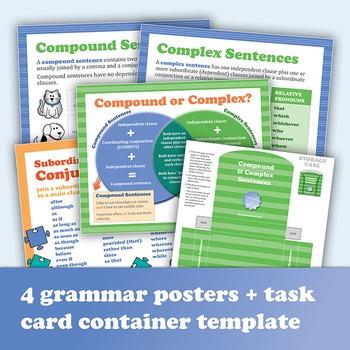 Compound & Complex Sentences: 40 Task Cards Plus Grammar Posters