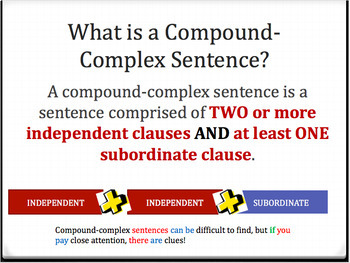 Compound-Complex Sentences: Identify and Write Them (PowerPoint)