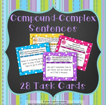 Complex sentences worksheet teaching resources teachers pay teachers compound complex sentence structure task cards compound complex sentence structure task cards fandeluxe Image collections