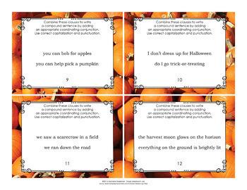 Compound and Complex Sentences Task Cards Autumn Theme