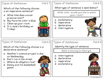 Compound, Complex, and Types of Sentences Task Card and Quiz Bundle