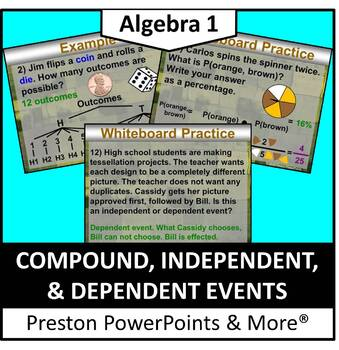 Compound, Independent, & Dependent Events in a PowerPoint