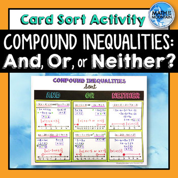 Compound Inequalities Card Sort Cut & Paste Activity
