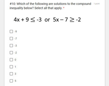 Compound Inequalities (Google Forms/ Quizzes)