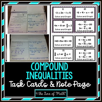 Compound Inequalities: Guided Notes & 28 Task Cards!