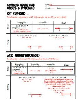 Compound Inequalities - Notes and Practice