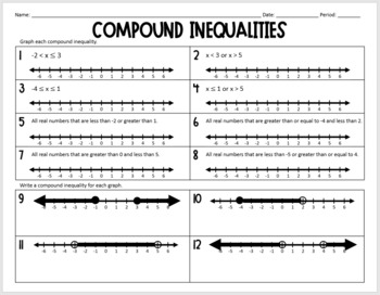 Compound Inequalities (Practice Worksheet) by Lisa Davenport | TpT