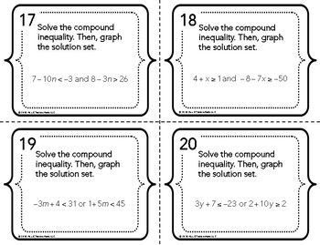 Compound Inequalities Task Cards
