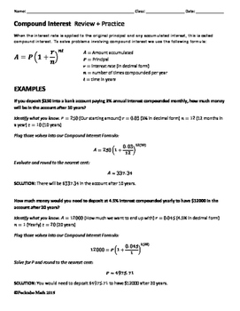 Compound Interest ALGEBRA Review + Practice