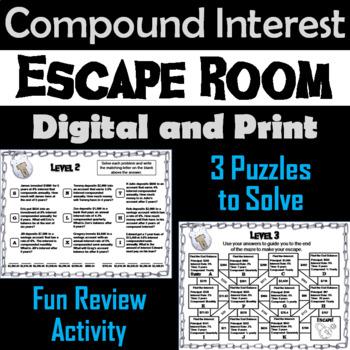 Compound Interest Game: Algebra Escape Room Math Activity