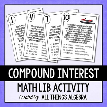 compound interest math lib by all things algebra tpt. Black Bedroom Furniture Sets. Home Design Ideas