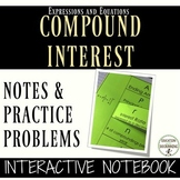 Compound Interest Inquiry Activity and Color Coded Interactive Notebook Pages