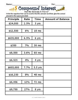 Compound Interest Practice Page