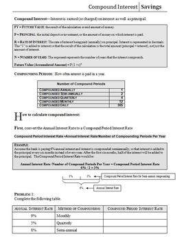 Compound Interest Worksheet