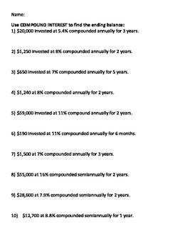 Compound Interest Worksheet by Hannah Douglas | Teachers Pay Teachers