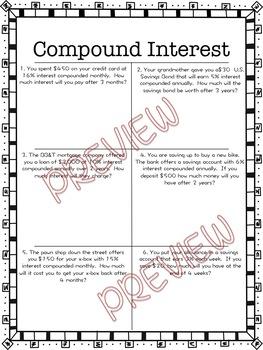 Compound Interest Worksheet by Hunka Learnin' Love | TpT